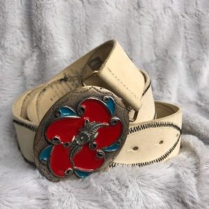 GAP Flower Buckle Cream Leather Belt